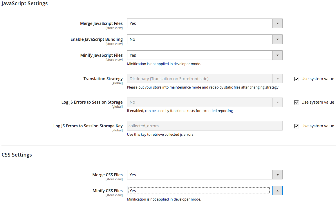 screenshot showing javascript section in the magento admin