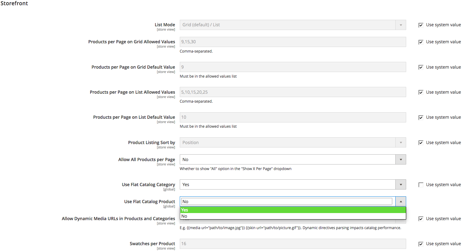 screenshot showing storefront settings in the magento admin