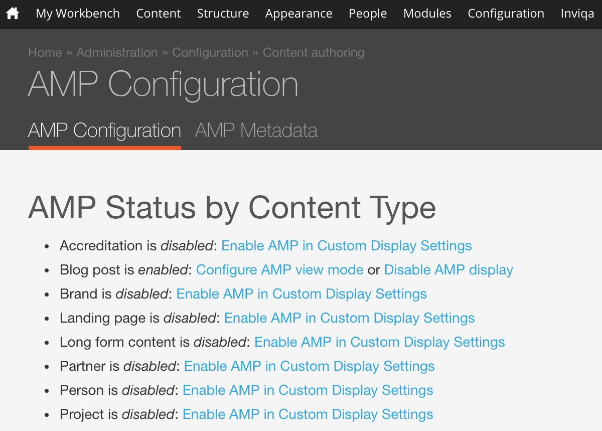 Screengrab of AMP configuration within the CMS
