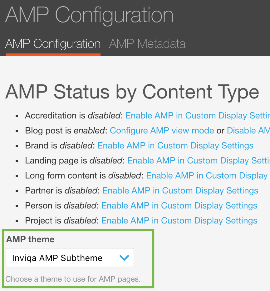 Screengrab showing AMP status by content type