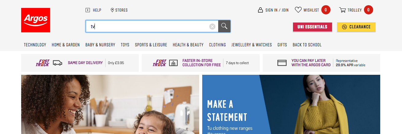 The Argos site displaying no results for 'TV'