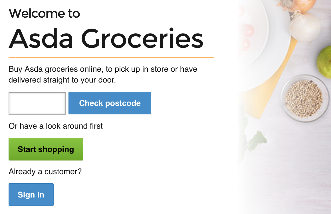 The Asda site failing to flag delivery issues upfront