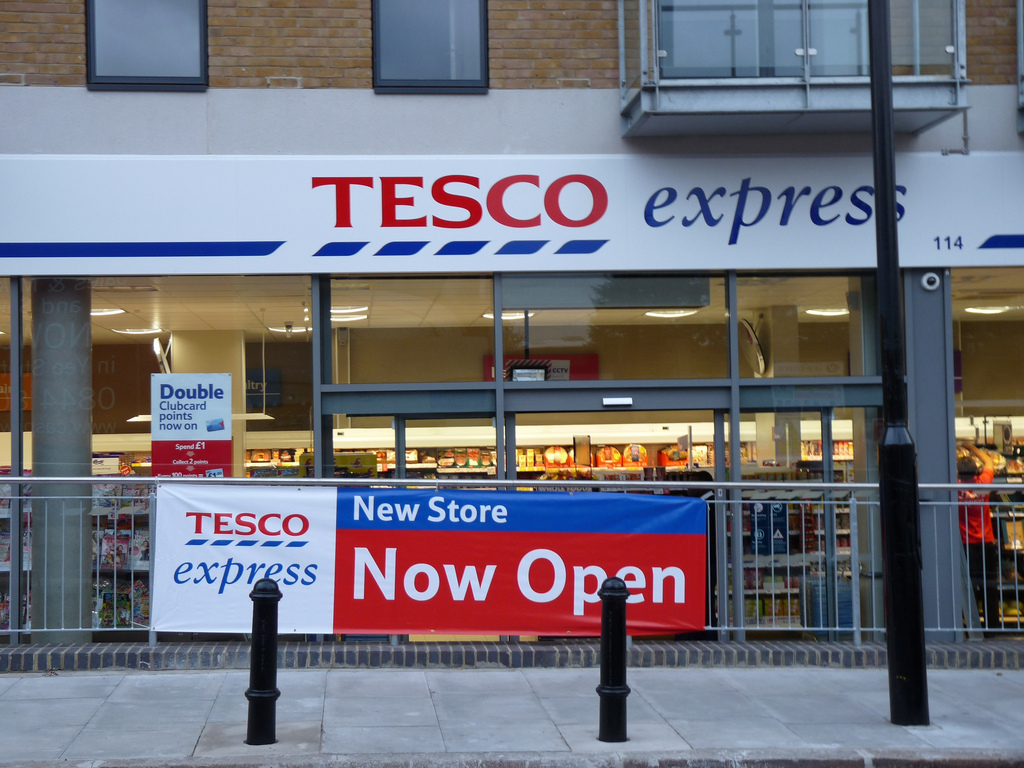 The outside of a Tesco store
