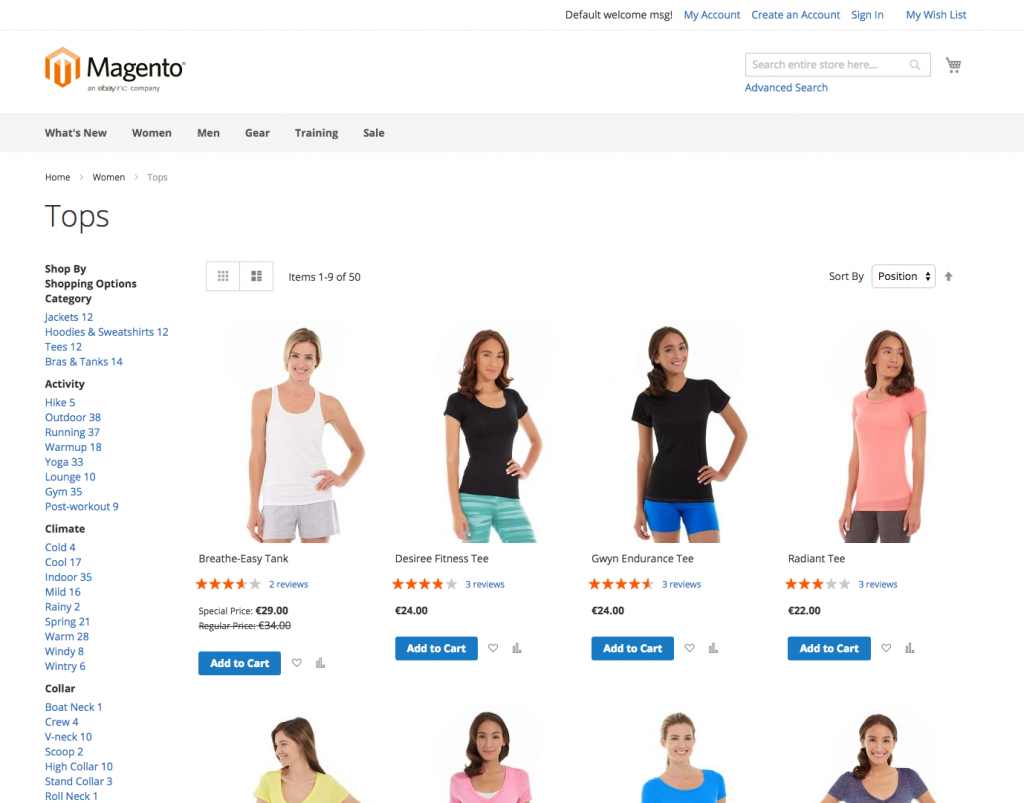 screenshot of magento 2 base theme