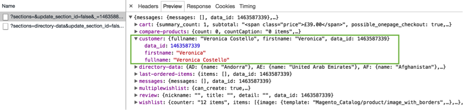 screenshot showing the JSON response containing personalised data