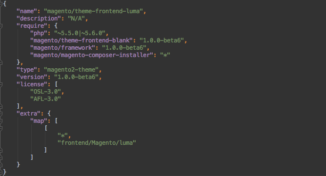 screenshot from terminal of the file structure of the Magento Blank theme