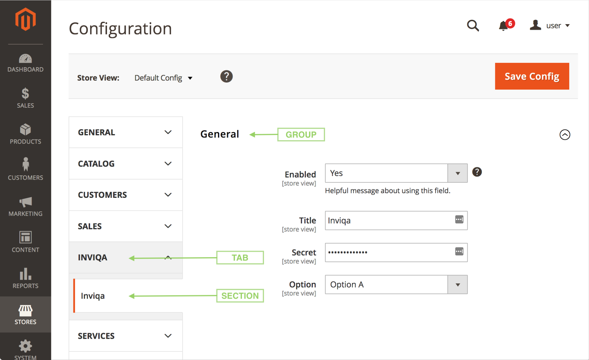 screenshot of the magento 2 configuration section