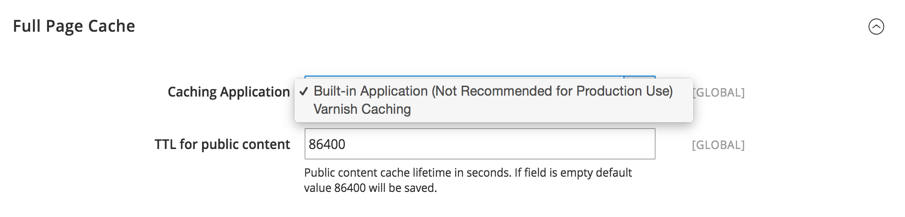screenshot showing full page cache section and a disclaimer that the built-in option is not recommended for production use
