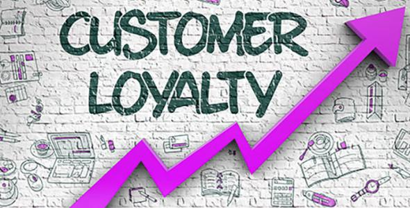 Customer loyalty with purple arrow underneath going upwards