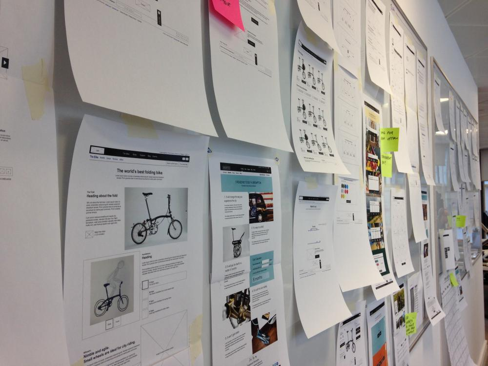 brompton wireframe print-outs on a wall