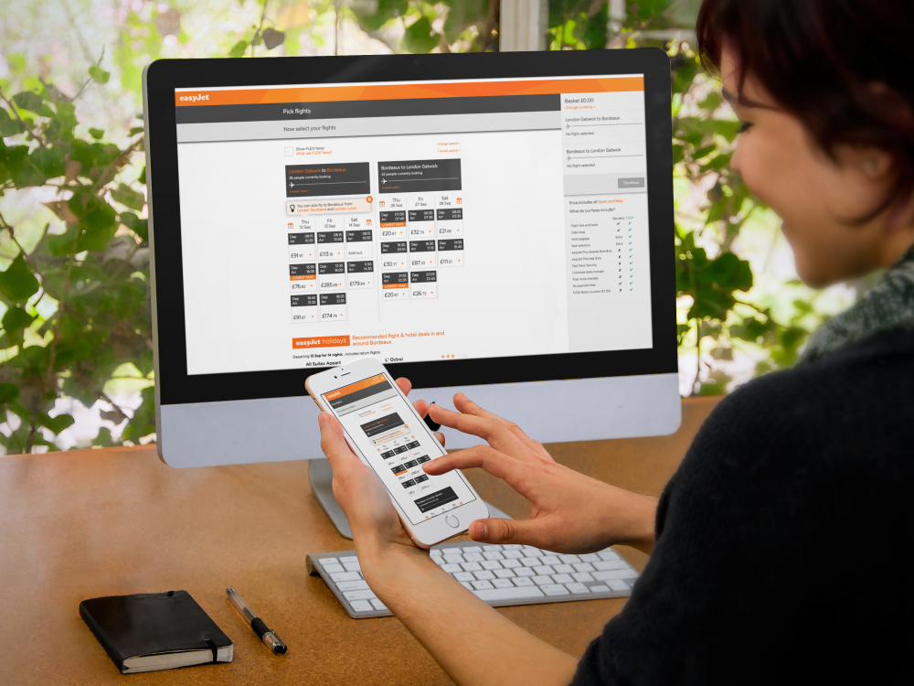 easyjet customer portal showing on desktop and mobile