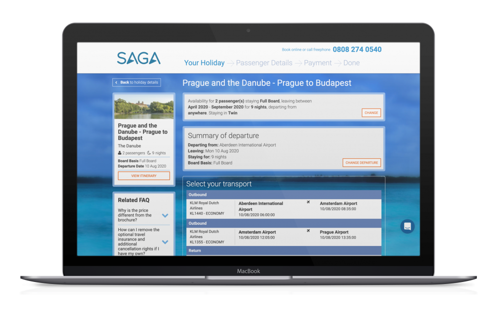 Macbook showing saga website